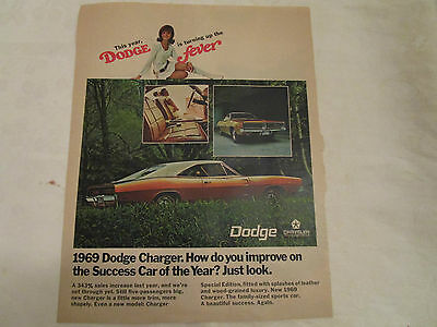 1969 Dodge Charger Special Edition Hardtop Original Print Ad from October 1968