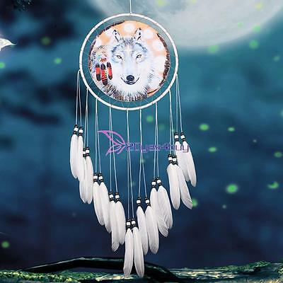 Handmade Dream Catcher Wolf With feathers Hanging Decoration Decor Craft Gift