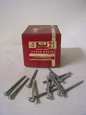 """Stove Bolt 5/32"""" x 2 3/4"""" Round Head Slotted w/Hex Nuts Zinc Plated Qty. 100"""