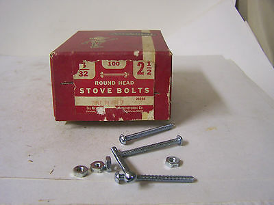 """Stove Bolt 5/32"""" x 2 1/2"""" Round Head Slotted w/Hex Nuts Zinc Plated Qty. 100"""