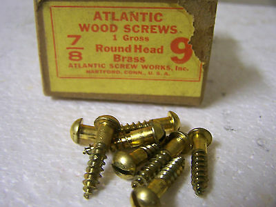 "#9 x 7/8"" Brass Wood Screws Round Head Solid Brass Slotted Made in USA Qty. 140"