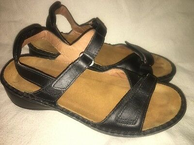 NAOT Footwear black leather adjustable strap sandals shoes Euro 39 womens 8 8.5