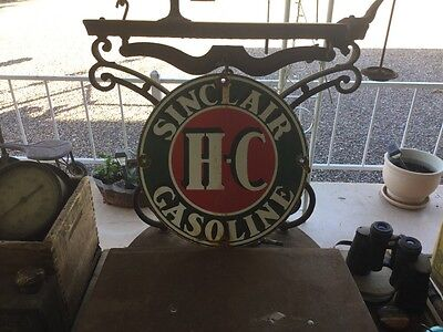 Sinclair H-C Gasoline Porcelain Gas Pump Sign