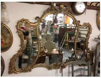 Fabulous Large English Antique Wall Mirror Regency Gilded Gesso