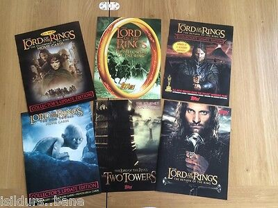 6 x RARE Topps Lord Of The Rings / LOTR Trading Card Dealer Sell /Seller Sheets