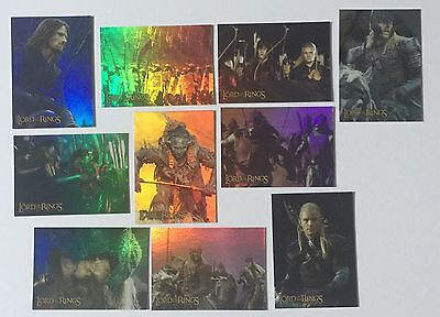 Topps Lord Of The Rings LOTR Two Towers (TTT) 10 Card Prismatic Foil Chase Cards
