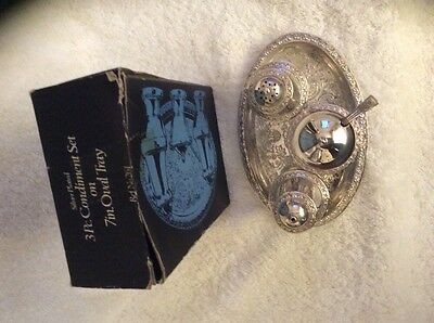 Vintage Silver Plated Cruet Set in original box By Lanthe Made In England
