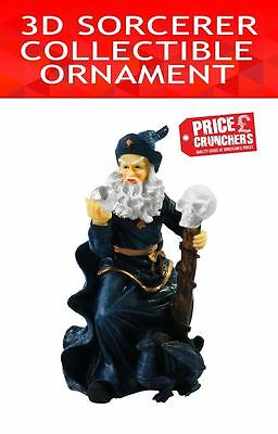 Wizard Figurine Sorcerer Xmas Decoration Magic Statue Figure Skull Gothic Myth