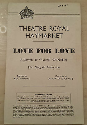 1943 THEATRE ROYAL, Haymarket: LOVE FOR LOVE - by William Congreve