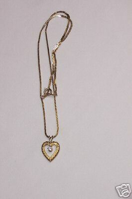 Sterling Chain With Dainty Rhinestone Heart Pendant