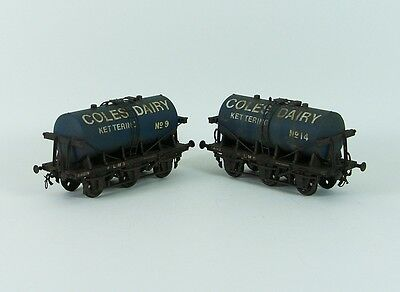 Two Weathered EM Gauge Tank Wagons 'Coles Dairies'