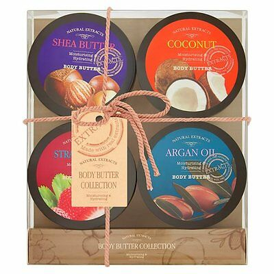 Natural Extracts Body Butter Collection 4 Varieties Gift Stocking Xmas Set Bnib