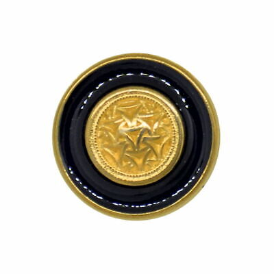 METAL GOLD WITH NAVY TEXTURED GEOMETRIC DESIGN FLAT SHANK BUTTONS 18mm Size 28L