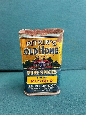 Hard-To-Find Antique Pitkin's Old Home Pure Spice Tin 2 oz. NET MUSTARD