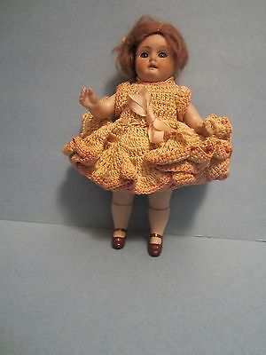 """Early Antique German All Bisque 6 1/2"""" Doll Blue Sleep Eyes"""
