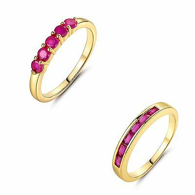 Channel Setting Red Sauqre 1.5*3mm Ruby Band ring Sz5-Sz9 in 24k gold filled