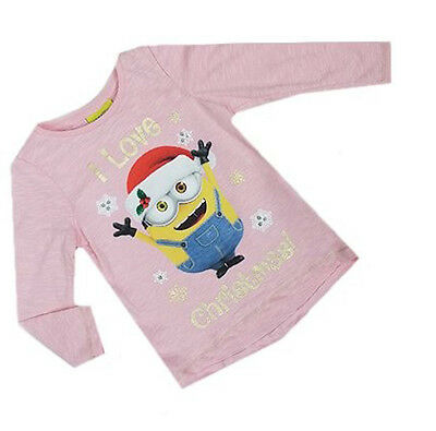 New Ex Store Pink I Love Christmas Minions Minion L/S Top T-Shirt 6-18 Months