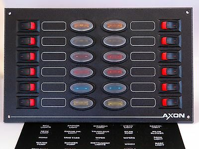 12 Way Rocker Switch Panel with Fuse Protection - Marine, Boat, Narrowboat