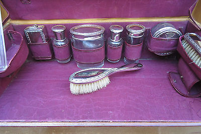 antique Vanity travel leather suitcase english Art Deco-lidded vials brush etc.
