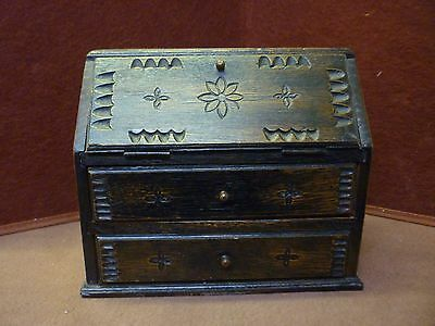 Vintage Miniture Carved Oak Bureau
