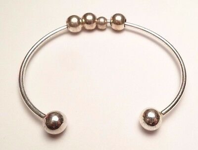 VINTAGE LADIES CUFF WITH BEADS BRACELET STERLING SILVER 925 8.3g