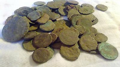 Lot of 70 uncleaned Roman bronze coins - Low quality.