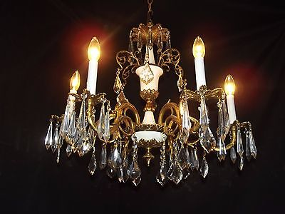 Antique brass crystal chandelier 6 lights, white accent