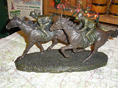 pair of  spelter racing  race horses