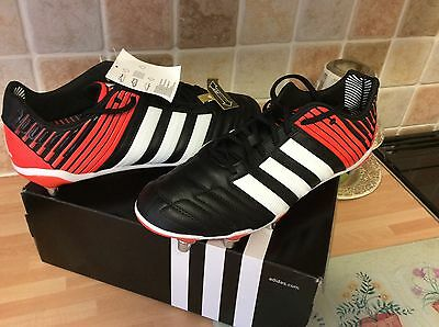 Adidas Adipower Kakari SG Mens Black White Red Rugby Boots UK 13 wide fit bnwb