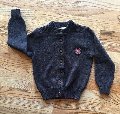 Vintage Girl Scout Brownie Cardigan Sweater Brown With Patch On Front