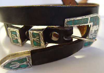 Vintage Southwestern Belt Sterling Silver & Intricate Turquoise signed R.S.S.
