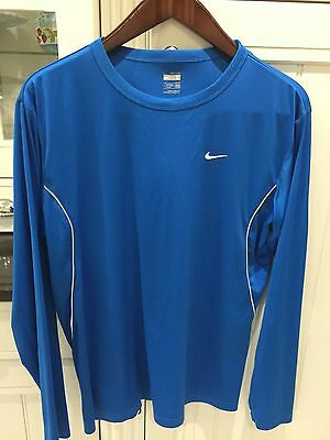 Men's Nike Blue Long Sleeve Dry Fit T-shirt Size Large