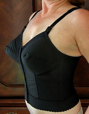 Vintage Black Exquisite Form Longline Bullet Bra 36 D pin up clothing girl retro