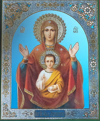 RUSSIAN ORTHODOX ICON The Virgin of the Sign cross