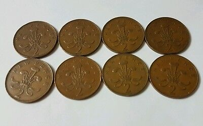 Rare coins 1971 new pence 2p coin error Colectable x 8 good condition new two