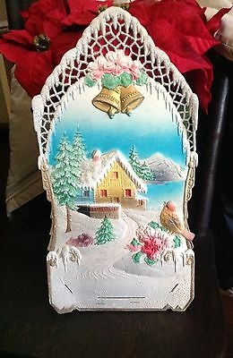 Antique Cardboard Christmas Calendar Decoration Germany