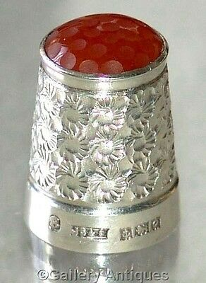 VINTAGE James Swann SOLID SILVER orange GLASS TOP daisy THIMBLE Birm 1963 size 8