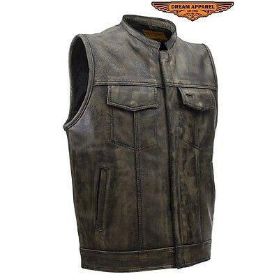 Mens SOA Style Motorcycle Distressed Brown Leather Biker Vest With Gun Pockets