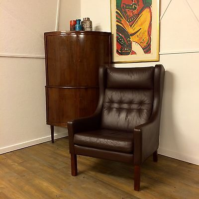 Vintage Danish Wing Back Dark Brown Leather Armchair with Dark Beech Legs