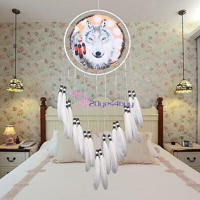 Handmade White Dream Catcher Wolf W/ feathers Hanging Decoration Craft Gift New