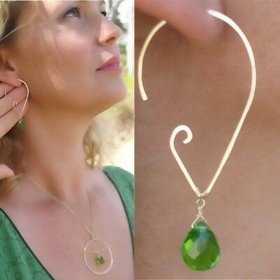 Artisan Peridot BRIOLETTE ORB necklace earrings SET 14kt GOLD g.f.HAMMERED WIRE