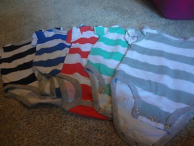Lot of 5 Striped Body Suits - Carters - Boys 3-6 Months