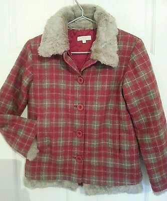 Girls Red Checked Faux Fur Jacket with Detachable Padded Lining  Age10-12/150