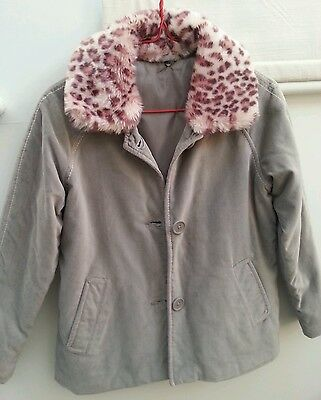 Was £30※Girls Grey Winter Padded Jacket Coat w/Detachable Faux Fur Collar※Age6~8
