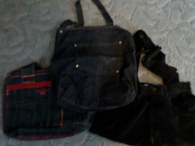 Lot Of 3 Handmade Purses Upcycled From Jeans  Etc Black/blue