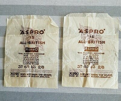 Two Vintage Aspro Tablet Packets 'Aspro is all British'
