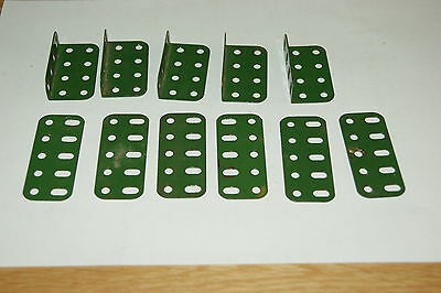 Meccano small lot of flat and flanged Green girder