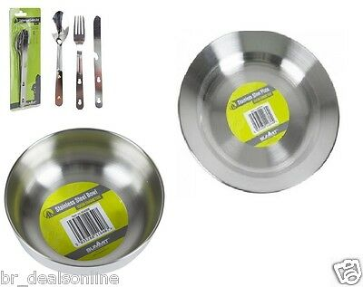 STAINLESS STEEL PLATE, BOWL & CUTLERY SET 4 in 1 CAMPING OUTDOOR HIKING PICNINC