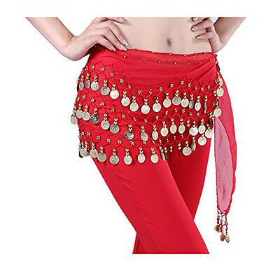 Fashion Chiffon Belly Dance Hip Scarf  Wrap 3 Rows Gold Coin Belt Red Skirt US