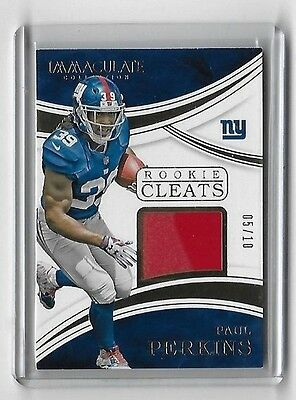 Paul Perkins RC 2016 Immaculate Rookie Cleats #5/10 Giants